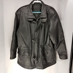 Expressions Contemporary Black Leather Coat Size L